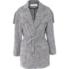 See by Chloé Drawstring cotton-blend jacket ($450) ❤ liked on Polyvore featuring navy and see by chloé