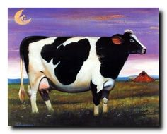Holstein Milk Cow at Night in Grass Moon Farm W/S Matted Picture Black Framed Art Print Country Framed Art, Country Wall Decor, Cow Wall Art, Cow Art, Farm Animals Pictures, Farm Paintings, Gallery Wall Frames, Farm Art, Wall Decor Pictures