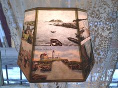 Maine Lamp Shade Lampshade Postcard Beach Scenes by lampshadelady