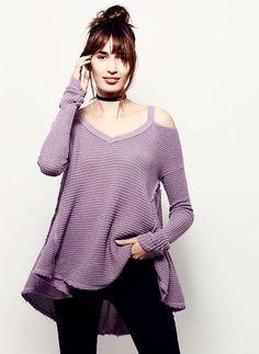 NWT Free People purple Moonshine Open Shoulder Long Sleeve Swing Thermal Top S…