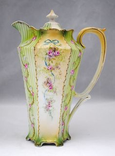 RS Prussia Chocolate Pot with Pink Roses Blue Bows and Green Stripes #RSPrussia