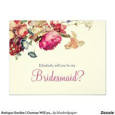 Antique Garden | Custom Will you be my Bridesmaid