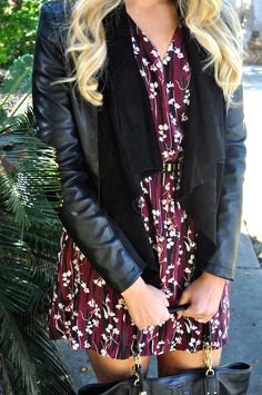 #JoyfullyStyled #fashion #outfit #ootd #fallfashion #leatherjacket #florals #floraldress #Nordstrom #ToryBurch #outfitinspo #booties #blogger #fashionblogger #fashionblog #cuteoutfits #falloutfit #outfitinspiration #blonde #blondehair