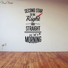 """New Nest Peter Pan vinyl decal , """" Second Star to The Right Straight """" quotes decals, wall stickers for kids rooms decorations-in Wall Stickers from Home & Garden on Aliexpress.com 