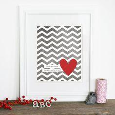 Every Beat of My Heart - Love Wedding Nursery Gray Grey Chevron Red Heart - Love Art Print. $15.00, via Etsy.