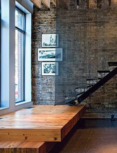 modern industrial loft Stair Platform construct in tandem with existing stairwell.