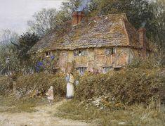 An Old Surrey Cottage (w/c with scratching out on paper) by Allingham, Helen (1848-1926)