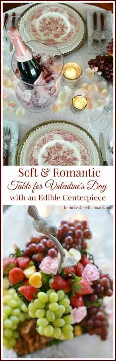 Edible centerpiece and romantic table for Valentine's Day with rose petals and floral ice cubes for champagne | ©️️homeiswheretheboatis.net #ValentinesDay #tablescape #centerpiece