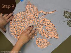 Buffing Annie Sloan Soft Wax on a copper gilded stencil