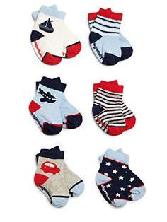 Elegant Baby - Infant's Six-Pair Nautical Socks Set