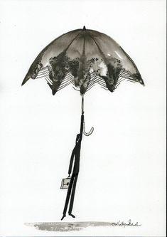 Zestaw 2 grafik ręcznie malowany obraz kobieta z parasolem | Etsy Rain Street, Etsy, Abstract, Illustration, Pictures, Painting, Vintage, Art, Summary