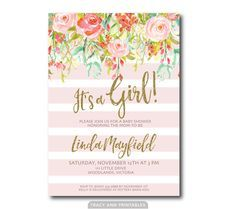 It's a Girl Baby Shower Invitation | Spring Flowers Glitter invite | Invitation |  BabyShower | Faux Glitter  Printable 0501 by TracyAnnPrintables on Etsy https://www.etsy.com/listing/277661802/its-a-girl-baby-shower-invitation-spring