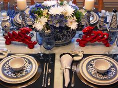 Love the blue & white dishes but the red dragons really make it pop!
