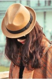 Vintage hats, Vintage Bow-knot Jazz Hat with Turned Brim