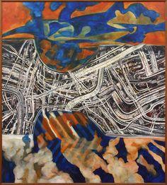 Robert Ellis - Paintings - Dunedin - Eventfinda New Zealand Art, Nz Art, Maori Art, Artist Painting, Aerial View, Landscape Paintings, Abstract Art, Maps, Gallery