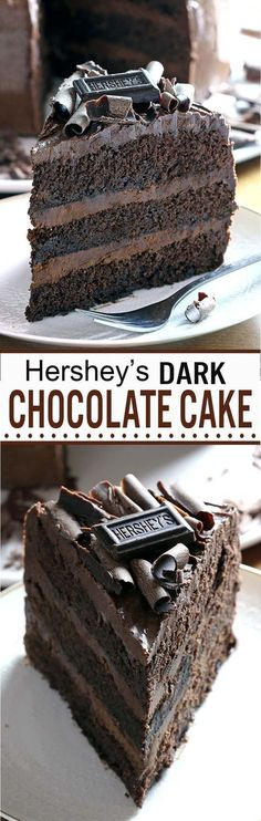 Hershey's moist Dark Chocolate Cake Moist, rich, chocolaty perfection, something that every chocolate fan should taste, this is one of those must-have recipes. Just Desserts, Delicious Desserts, Dessert Recipes, Yummy Food, Delicious Chocolate, Healthy Desserts, Dark Chocolate Cakes, Chocolate Desserts, Chocolate Smoothies