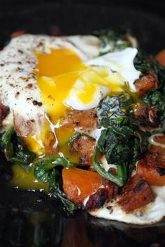 Sunny Side Up Egg Topped Butternut and Spinach Hash with Bacon