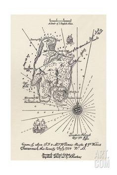 Map of Treasure Island Giclee Print at Art.com