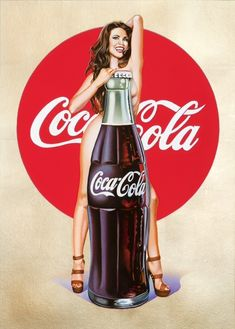 Available for sale from Galerie Ernst Hilger , Mel Ramos, Lola Cola Gold Lithograph, real gold-leaf on paper, × cm Pin Up Girl Vintage, Retro Pin Up, Retro Ads, Vintage Advertisements, Vintage Ads, Vintage Posters, Vintage Coca Cola, Coca Cola Ad, Always Coca Cola
