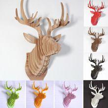 Cabeza de los ciervos, decoración del hogar, arte de la pared de madera Diy artesanía decoración de pared pegatinas decoración del hogar, decoración de la navidad, madera Animal blanco 9(China (Mainland))