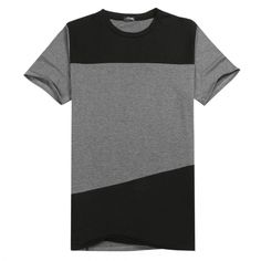 COOFANDY Men Short Sleeve O-neck Contrast Color Casual T-shirt