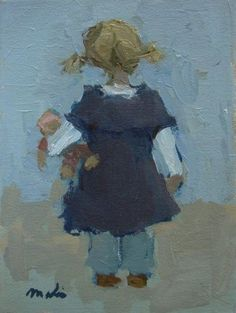 Peuter met haar pop van Malie Baehr | Verkocht Meisje dat ergens aandachtig naar kijkt, pop onder haar arm..