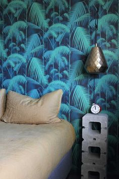 A Cement Brick Side Table Is Just The Industrial Look Needed To Pair With This Glam Wallpaper On Design*Sponge Glam Wallpaper, Wallpaper Wall, Wallpaper Headboard, Tropical Home Decor, Tropical Design, Bedroom Decor For Small Rooms, Brick Siding, Cheap Bathrooms, Cole And Son