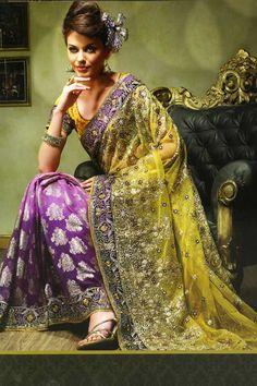 Green & Purple embellished Saree