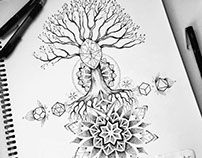 Tree and geometry back tattoo design