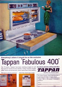 My Mom had a stove like this. I just realized just how many features it had that I would like now. The burner feature slid out of the way and became a countertop. It was a double oven! And it had something in it that could be used to rotisserie meat.