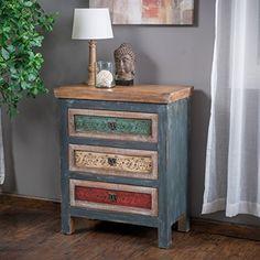 "Amazon.com: Jofran: 175-32, Craftsman, Accent Chest, 32""W X 15""D X 32""H, Antique Blue Finish, (Set of 1): Kitchen & Dining"