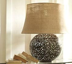 Moroccan Table Lamp Base #potterybarn........whay about a bowl filled with beads or nuts????