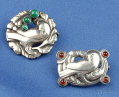 Two Sterling Silver and Gem-set Bird Brooches, Georg Jensen, one bezel-set with malachite, the other with red stone accents
