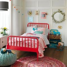 Jenny Lind Trundle Bed | Kids' Beds: Kids Red Spindle Jenny Lind Bed in Beds | The Land of Nod