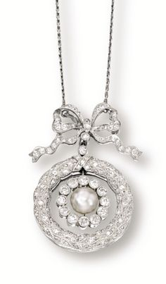 NATURAL PEARL AND DIAMOND PENDANT NECKLACE, BOUCHERON.  Suspending on an oscillating natural pearl measuring approximately 7.05 x 6.90mm, within a frame set with circular-cut diamonds, surmounted by a ribbon set with circular-cut diamonds, accompanied by a link chain, mounted in 18 karat white gold, length approximately 440mm, pendant detachable.