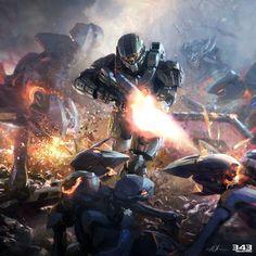 Future War, Sci-Fi, Futuristic Warrior, Military, Armor, Halo 4 Concept Art by John Liberto
