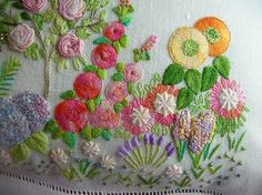 flowers made from bullions, buttonhole stitch, French knots, woven spiders, and more
