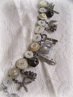 Handmade Button Charm Bracelet Vintage Button Bracelet Altered  Charm Bracelet Antique Charm Bracelet