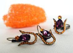 tulip jewelry set antiqued brass teardrop purple orange swarovski art deco crystal rhinestone earrings ring wedding bridesmaids jewelry set on Etsy, 35,90$
