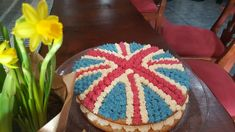 Union Jack cake with daffodils