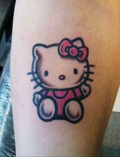 Hello Kitty tattoo by KimAnger. Girly Tattoos, Love Tattoos, Body Art Tattoos, Small Tattoos, Awesome Tattoos, Beautiful Tattoos, Tatoos, Hello Kitty Tattoos, Hello Kitty Birthday