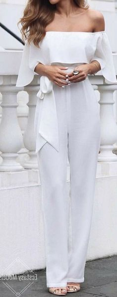 #outfit #ideas / 75+ Outfit Ideas to Wear to Homecoming white off the shoulder jumpsuit cute outfits for girls 2017