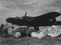 Northrop P-61 Black Widow Flickr group. This particular shot is of the crew chief of the 422nd 'Green Bats' Night Fighter Squadron and his reaction to V-E Day news as the gleaming, state-of-the-art instrument of death behind him becomes instantly obsolete. In Duster, Jo's not quite so lucky. http://duster.me