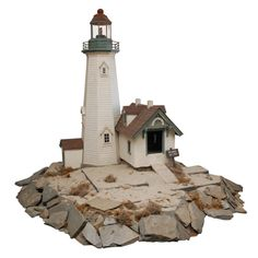Lighthouse scale model | From a unique collection of antique and modern sculptures and carvings at http://www.1stdibs.com/furniture/folk-art/sculptures-carvings/