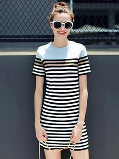 Shop Color Block Stripe Knitted Shift Dress from choies.com .Free shipping Worldwide.$29.9