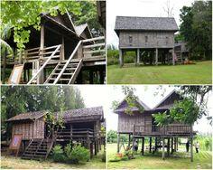 เฮือนภูไท Traditional Decor, Traditional House, Thai House, Wooden House, Little Houses, Thesis, Cabins, Tropical, Architecture