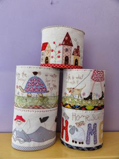 fabric basket with cute scenes Fabric Storage Boxes, Fabric Bins, Felt Fabric, Fabric Basket, Sewing Box, Love Sewing, Scrappy Quilt Patterns, Quilting, Sewing Crafts