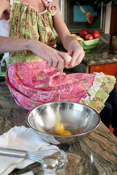 "Free apron pattern-made this.  soooo cute, easy and used up some of those ""vintage"" linens."