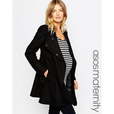 ASOS Maternity Skater Coat With Funnel Neck (230 BRL) ❤ liked on Polyvore featuring maternity and black