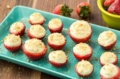 Cheesecake-Stuffed Strawberries: This fun and fruity dessert is the perfect no-bake treat. Get the recipe from Delish. Mothers Day Desserts, Valentine Desserts, Holiday Desserts, Holiday Baking, Strawberry Dessert Recipes, Strawberry Cheesecake, Cheesecake Stuffed Strawberries, Filled Strawberries, Cheesecake Cupcakes